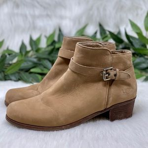 UGG Tan Brown Suede Heeled Ankle Boot 8.5
